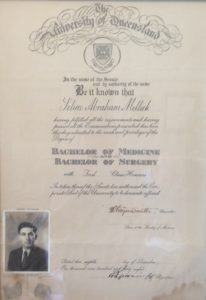 Pictured: Graduation Certificate (1948), Honorary Professor Sam Mellick CBE, FRCS, FRACS, FACS, FRCSI (Hon)